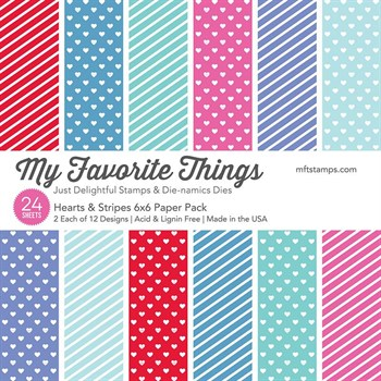 "My Favorite Things Paper Pad 6x6"" - Hearts & Stripes"