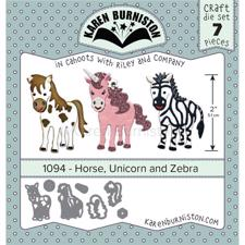 Karen Burniston Die - Horse, Unicorn and Zebra