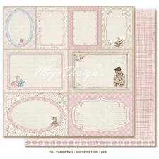 Scrapbook Paper - Vintage Baby  / Journaling Cards Pink