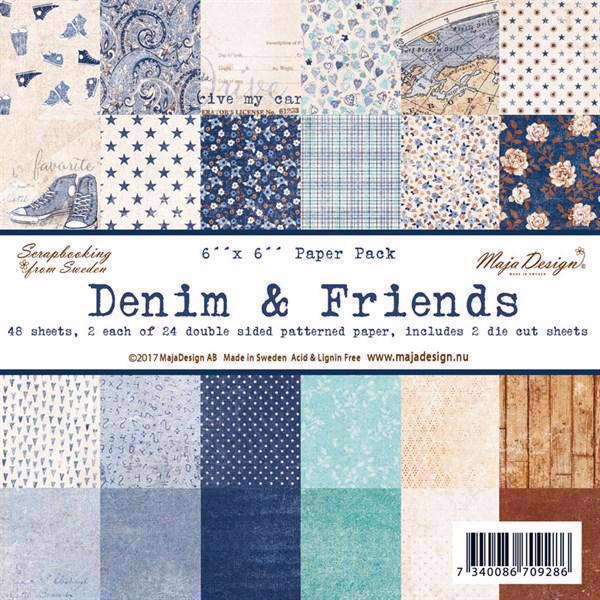 "Maja Design Scrapbook Paper Stack 6x6"" - Denim & Friends"