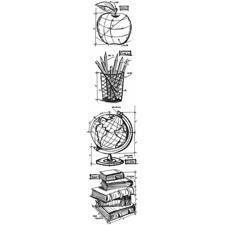 Tim Holtz Cling Rubber Stamp MINI Set - Blueprints / Schoolhouse MINI