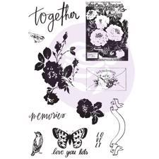 Prima Cling Stamp & Stencil - Lavender Frost (flovers)