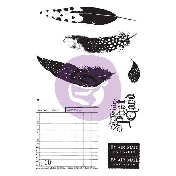 Prima Cling Stamp & Stencil - Midnight Garden (feathers)