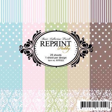"RePrint Scrapbooking Paper pack 6x6"" - Basic Collection Pastel"