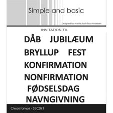 Simple and Basic Clear Stamp - Invitation til dåb, jubilæum, bryllup m.fl.