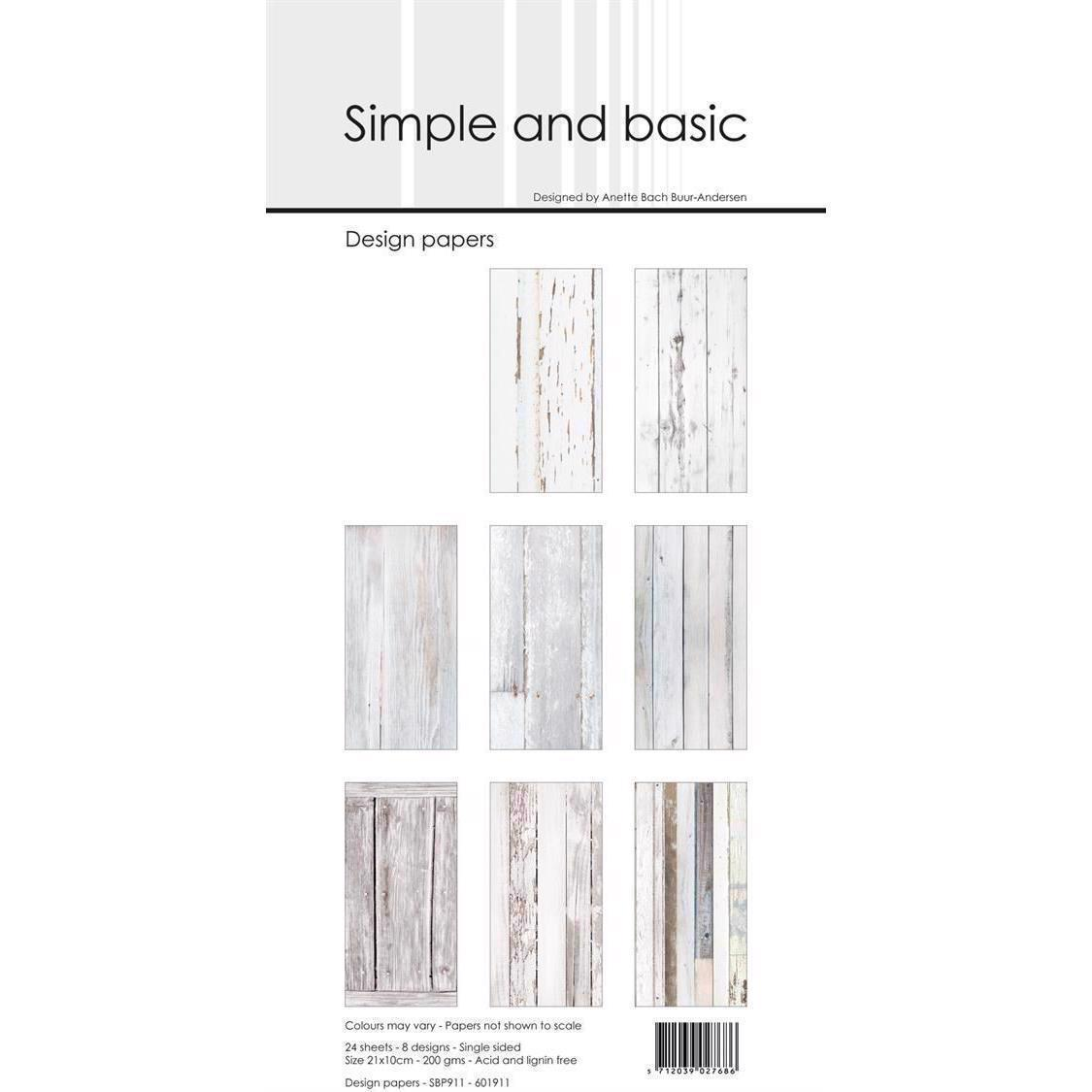Simple and Basic Design Papers - White Wood 10x21 cm (slimcard)