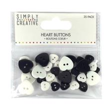 Simply Creative Heart Buttons - Monochrome