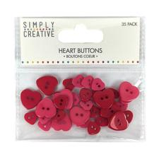 Simply Creative Heart Buttons - Red