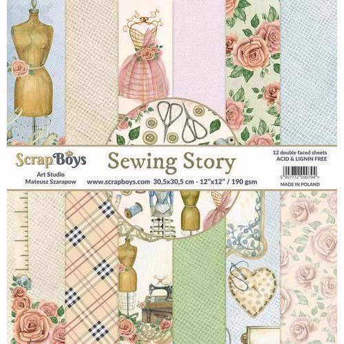 "ScrapBoys Paper Pad 12x12"" - Sewing Love"