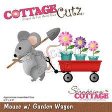 Cottage Cutz  Die - Mouse w. Garden Wagon