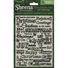 "Embossing Folder - Sheena 5x7"" / Christmas Greetings"
