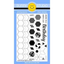 Sunny Studio Stamps - Clear Stamp / Quilted Hexagons