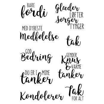 Gitte's Eget Design Clearstamp Set - Brush Script / De Svære Kort