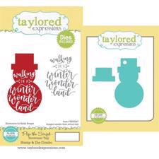 Taylored Expressions Stamp & Die - Flip the Script / Snowman Tag