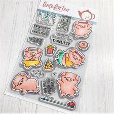 Time 4 Tea Clear Stamps - Workout Pigs