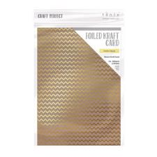 Craft Perfect (Tonic) Foiled Kraft Card - Golden Zigzag (5 ark)