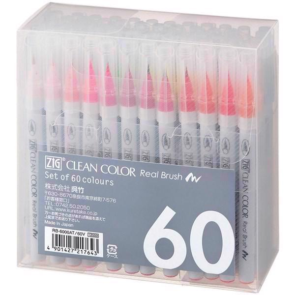Zig Clean Color Real Brush Marker Set - 60/Pkg